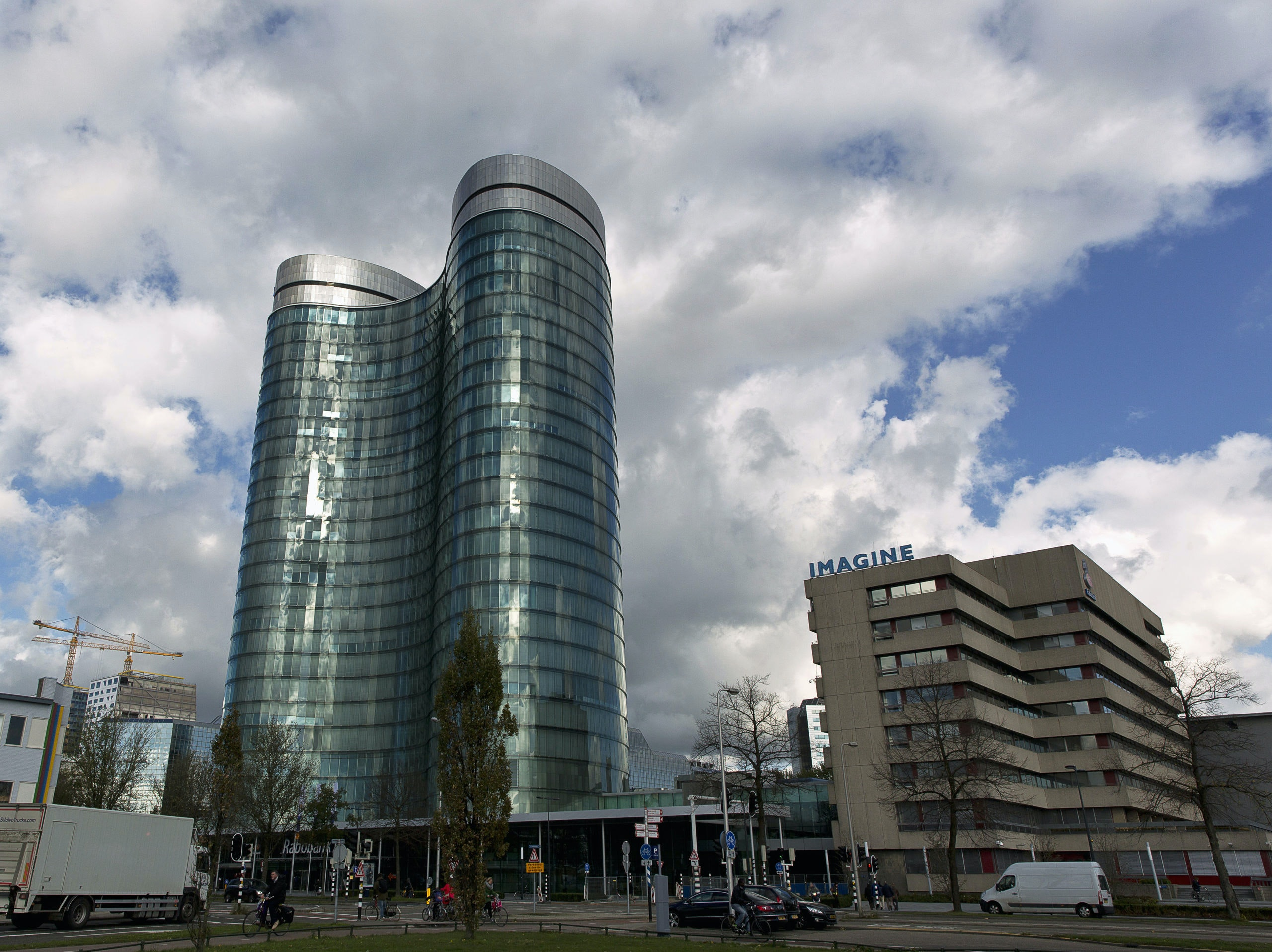 An exterior view of the headquarters of Rabobank in Utrecht October 30, 2013. U.S. and European regulators have fined Dutch lender Rabobank $1 billion for rigging benchmark interest rates, making it the fifth bank punished in a scandal that has helped to shred faith in the industry. REUTERS/Michael Kooren (NETHERLANDS - Tags: BUSINESS) - GM1E9AU1M2D01